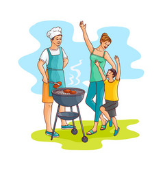 sketch family at barbeque party vector image