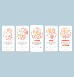 Social issues onboarding mobile app page screen vector