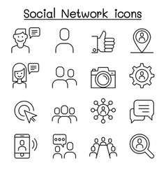 Social network social media icon set in thin line vector