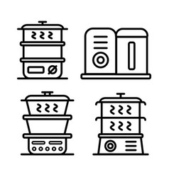 steamer icon set vector image