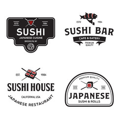Sushi shop labels and badges design templates set vector