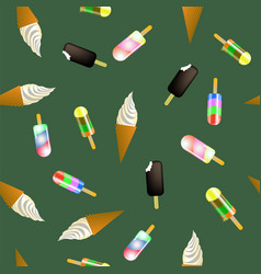 Sweet ice cream pattern vector