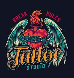 tattoo studio vintage colorful bagde vector image