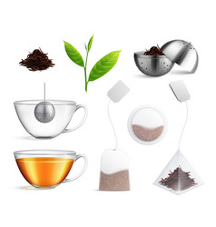 tea brewing bag realistic icon set vector image