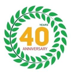 Template Logo 40 Anniversary in Laurel Wreath vector image