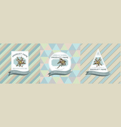 three colored labels with edelweiss vector image