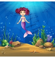 Undersea world with brunette mermaid vector