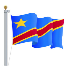 waving democratic republic of congo flag isolated vector image