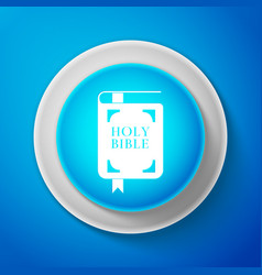 white holy bible book icon on blue background vector image