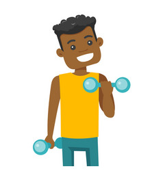 Young african-american man lifting dumbbell vector