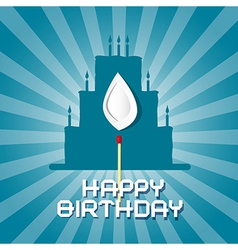 Blue Birthday Background with Cake Silhouett vector image