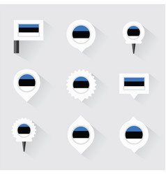 estonia flag and pins for infographic and map vector image vector image