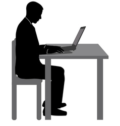 man working on his laptop vector image