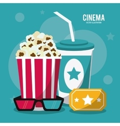 pop corn soda movie film cinema icon vector image