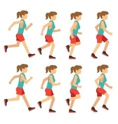 Running woman female runner animation frame loop vector image vector image