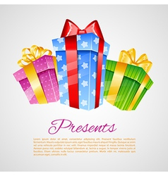 Set of colorful gift boxes with bows vector image vector image