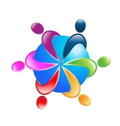 Teamwork around world logo vector image