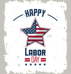 colorful emblem of happy labor day with american vector image