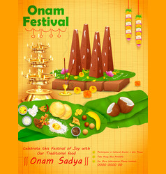 decorated onathappan for happy onam festival of vector image