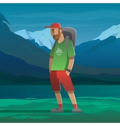 Man with red cap and backpack in the mountains vector image vector image