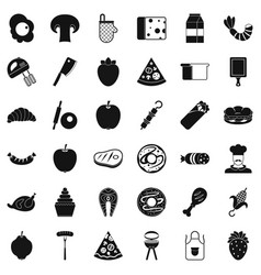 Meal dish icons set simple style vector