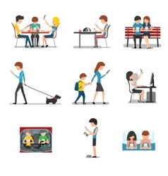 People in different action use smartphone vector image