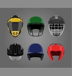 set of sports helmets on a gray background vector image vector image