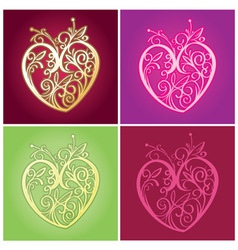 curve floral heart for valentine ornament vector image