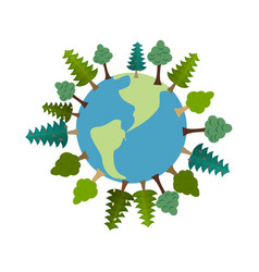 earth and trees green planet vegetation on land vector image vector image