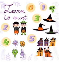 Learn to count Halloween related cute collection vector image vector image
