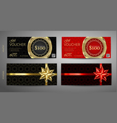 set of gift voucher template with premium pattern vector image vector image