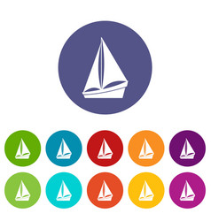 small yacht set icons vector image vector image