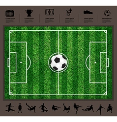 soccer ball on the field soccer Icons set vector image