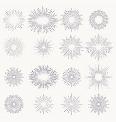 sunburst shapes set abstract sunshine line vector image