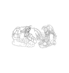 zeus vs poseidon black and white drawing vector image