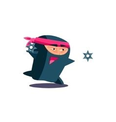 Cute Emotional Ninja Throwing a Shuriken vector image vector image