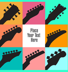 eight guitar headstocks frame this white space vector image
