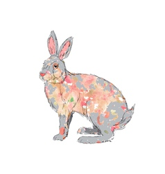 hand drawn watercolor rabbit vector image vector image
