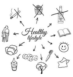 linear set of a healthy lifestyle vector image vector image