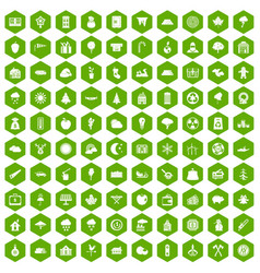 100 lumberjack icons hexagon green vector image