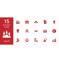 15 gold icons vector