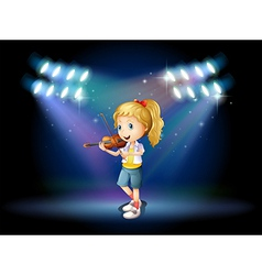 A young girl playing with her violin at the stage vector image