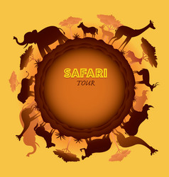African safari animals silhouette round frame vector