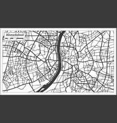 Ahmedabad india city map in retro style outline vector