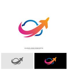 airplane cloud logo design concept vector image