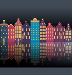 amsterdam city night vector image