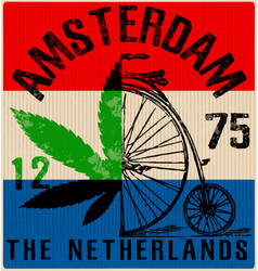 Amsterdam poster graphic design vector