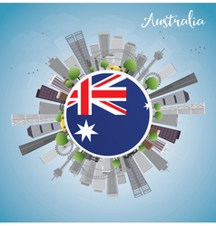 Australia Skyline with Gray Buildings and Blue Sky vector