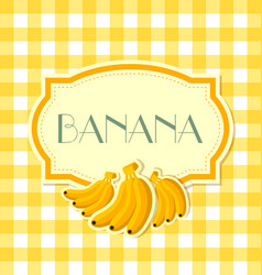 banana label in retro style on squared background vector image