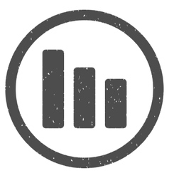Bar chart decrease icon rubber stamp vector
